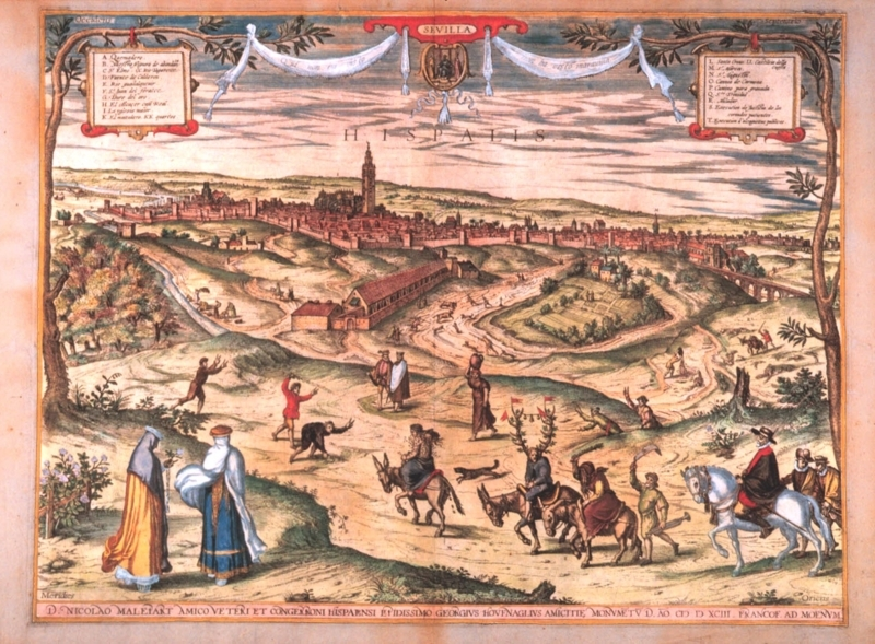 Sevilla - 1565 - Grabado publicado en CIVITATIS ORBIS TERRATUM - 1598 - Dibujo de Joris Hoefnagle